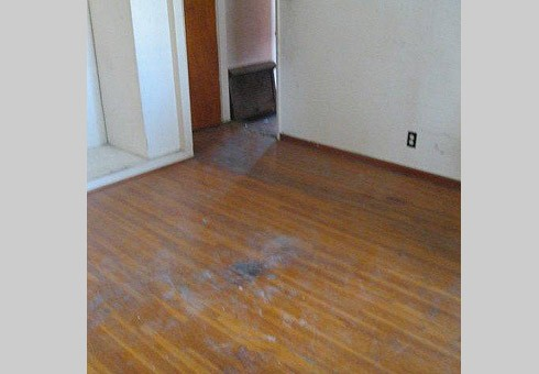 BEFORE: Old, Worn, and Dirty Hardwood Floor