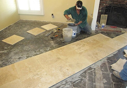 PMC Installing New, Custom Traventine Tile