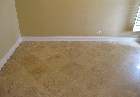 FINISHED: Travertine Floor, New Baseboards